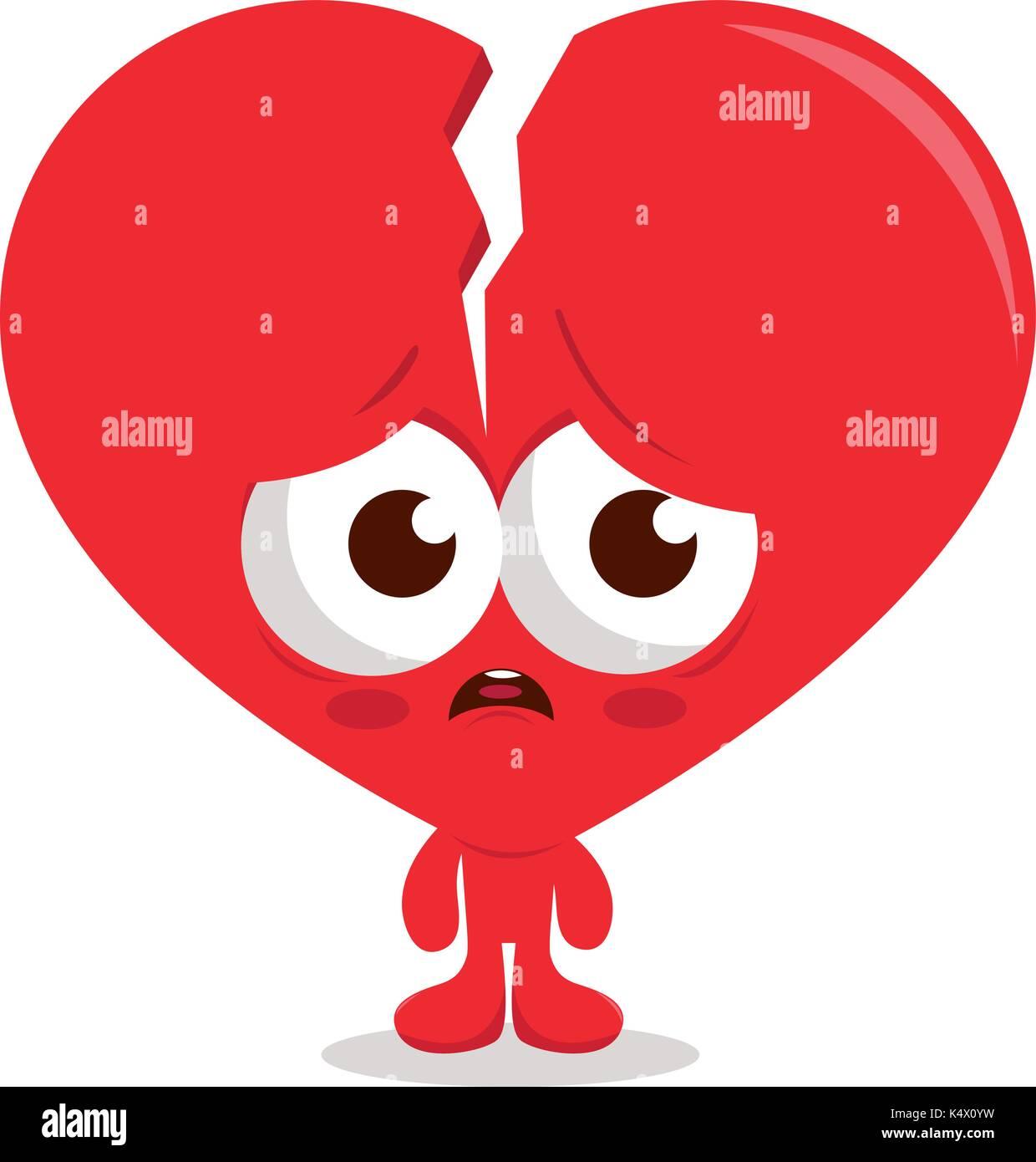 broken heart cartoon character vector illustration stock vector art rh alamy com cartoon broken heart quotes cartoon broken heart images