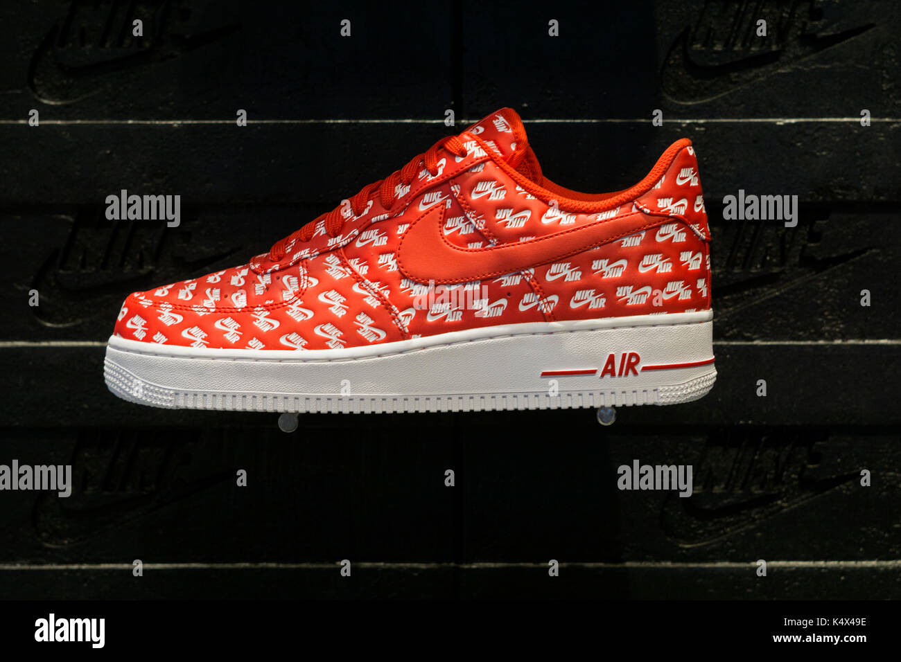 Red Nike air Force One shoes for sale for  130 at the Nike NITH store on 596fda94c