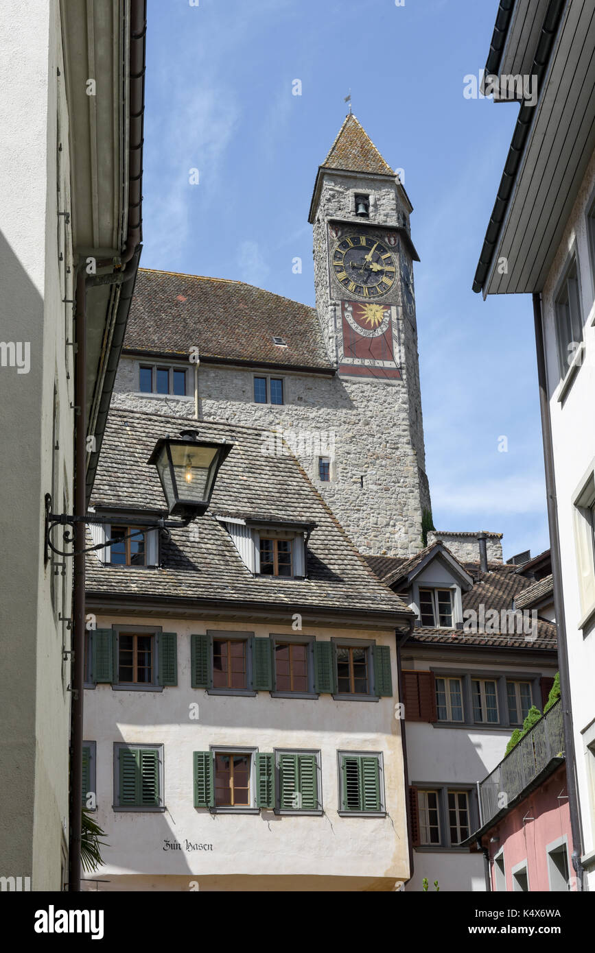 Rapperswil, Switzerland - 3 August 2017: the old center of Rapperswil in Switzerland - Stock Image