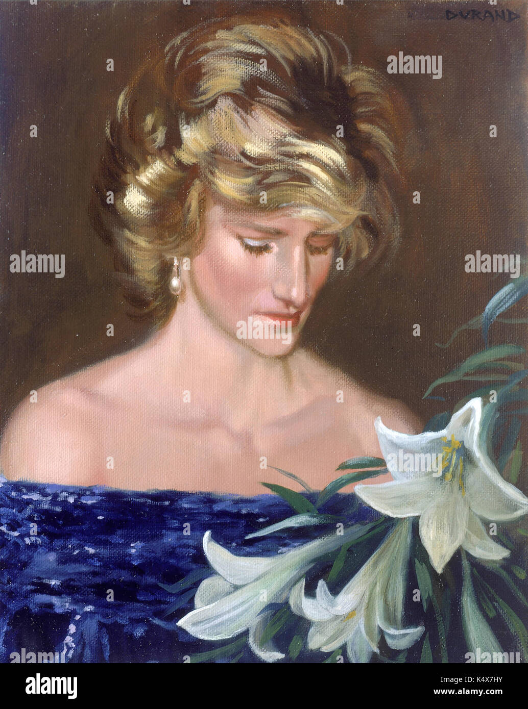 A Posthumous Portrait Of The Late Princess Diana Painted On Stock