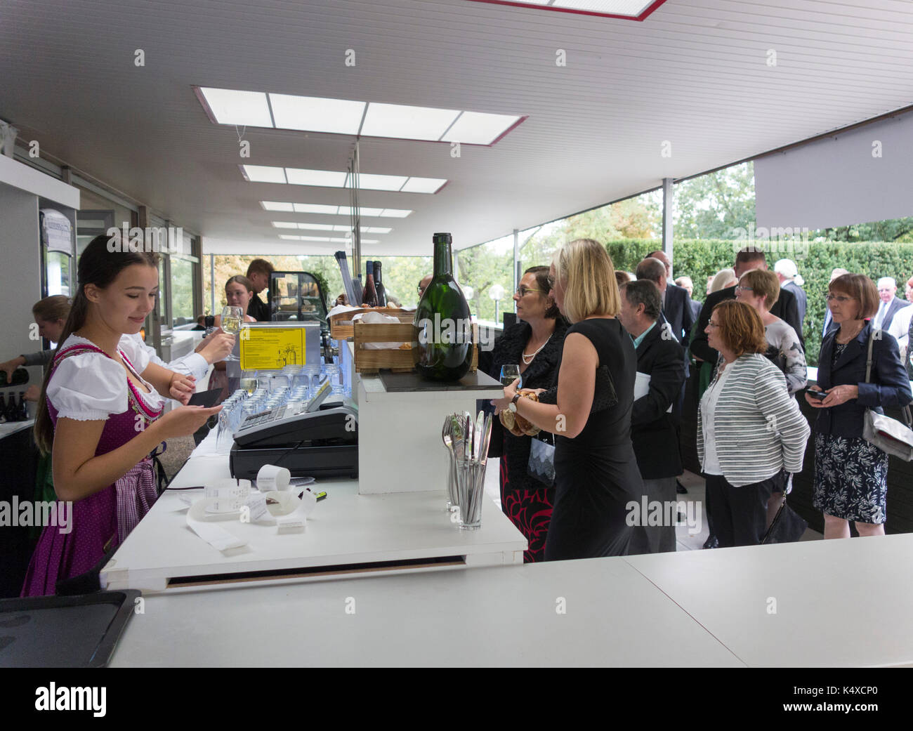 customers buying expensive snacks at Bayreuth Opera Festival 2017, Bavaria, Germany - Stock Image