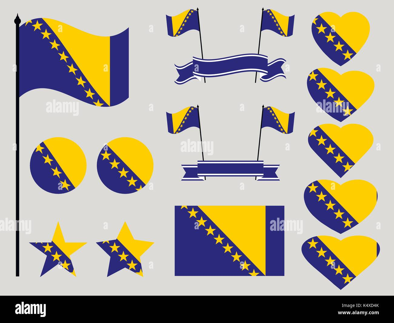 Bosnia and Herzegovina flag set. Collection of symbols heart and circle. Vector illustration - Stock Vector