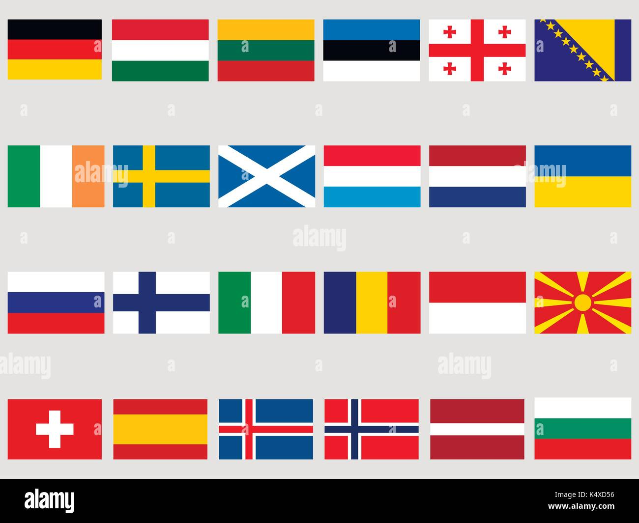 Collection of flags of European countries on a white background. Flag icon set. Vector illustration - Stock Vector