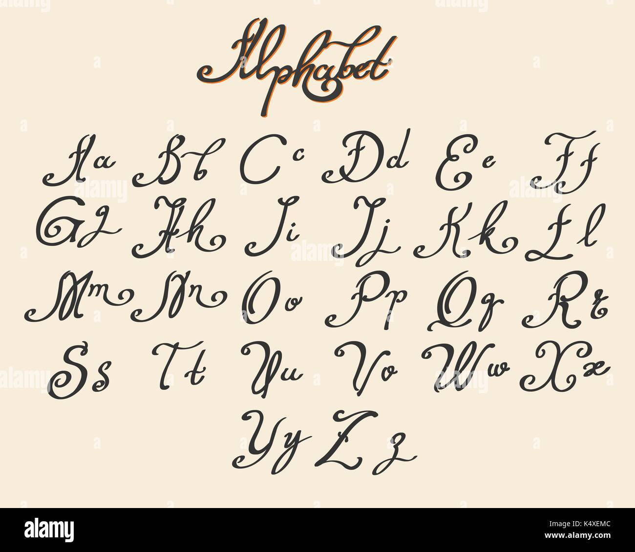Handwritten Calligraphy Font Drawn In Ink Style Vector Illustration