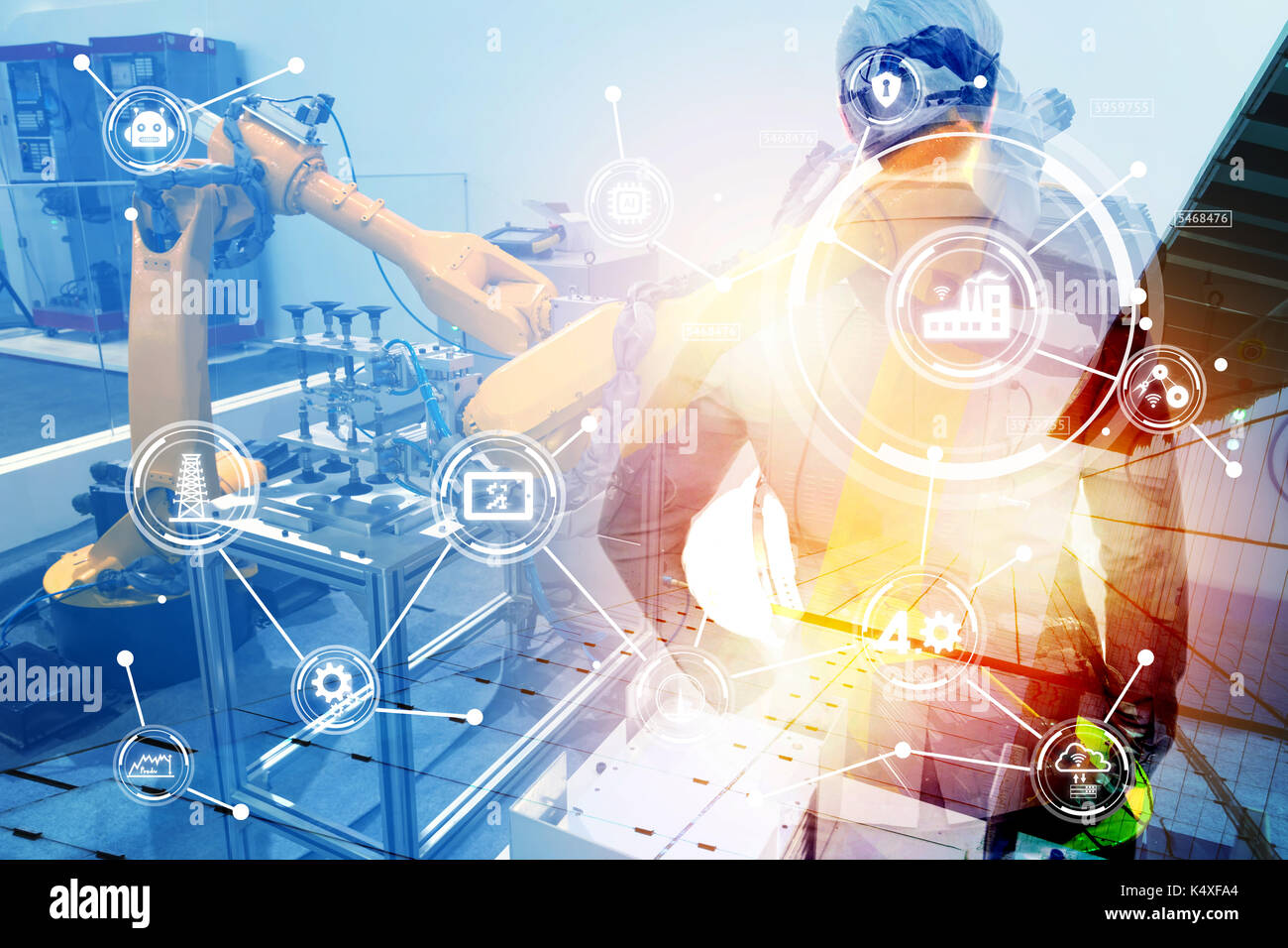 Double exposure of Manufacturing production industrial machine , factory robots arm in smart factory , engineer male stand with his back of machine wi - Stock Image