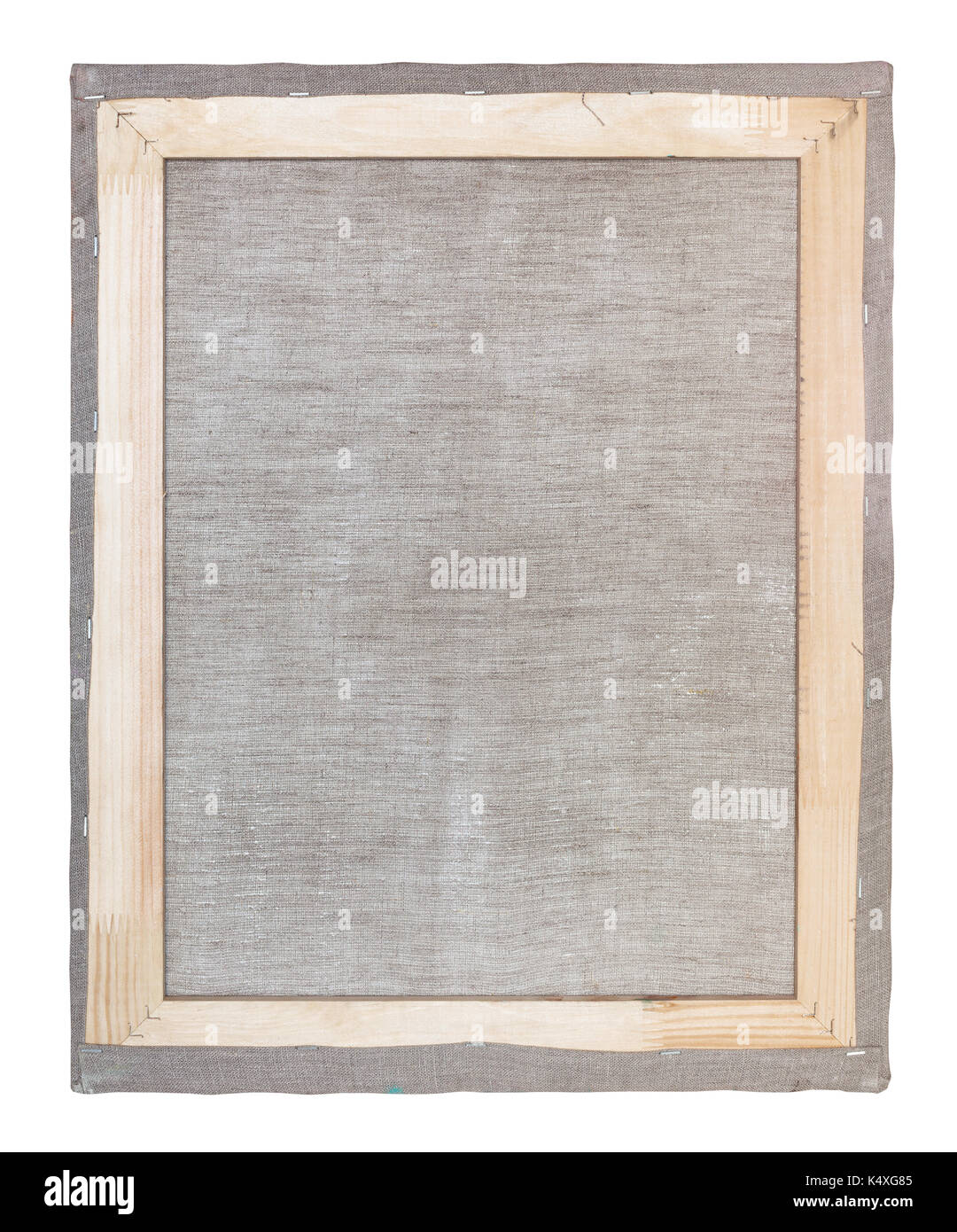 reverse side of wooden frame with stretched canvas isolated on white ...