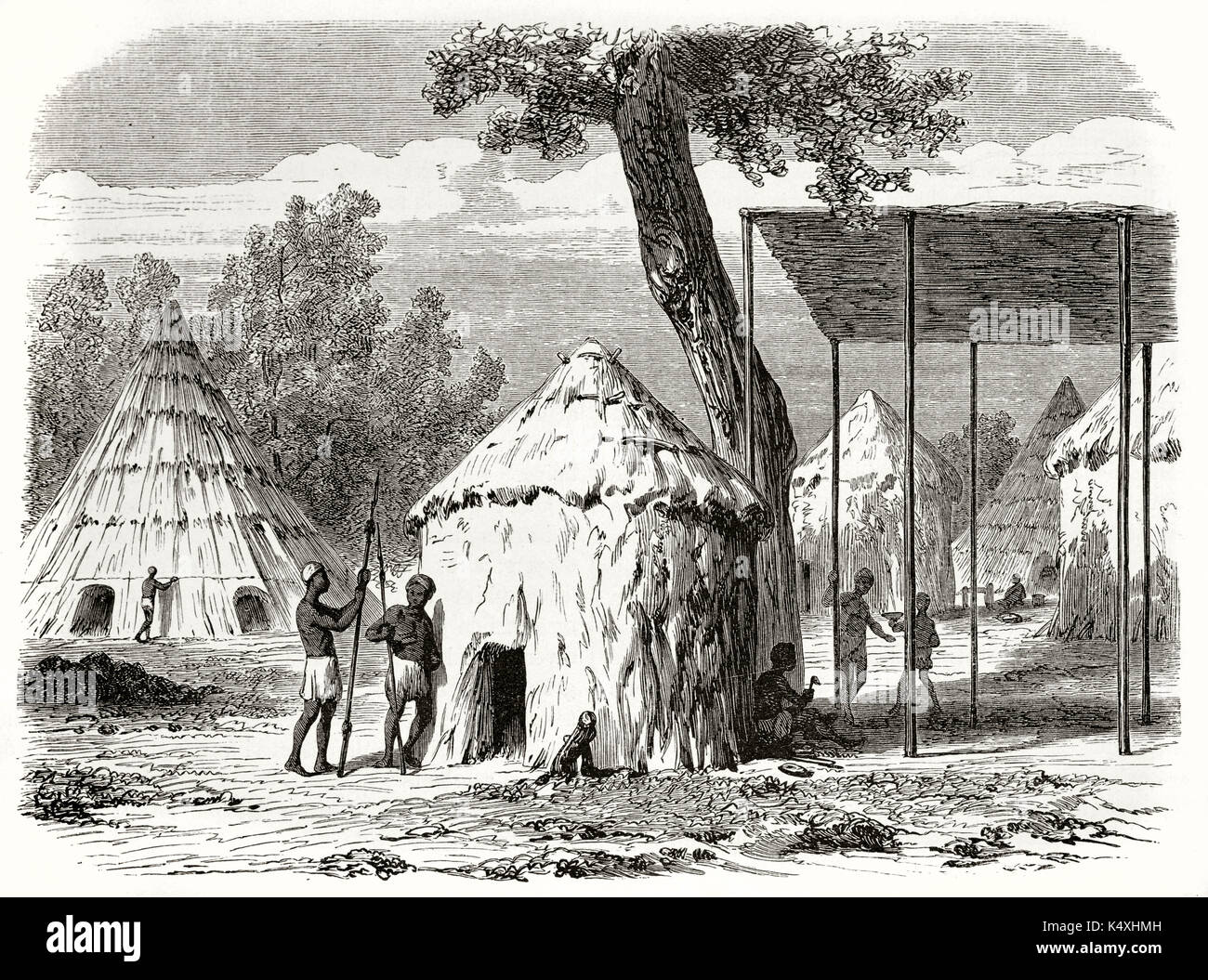 Ancient African Tribe In His Village Made By Straw And Mud Huts