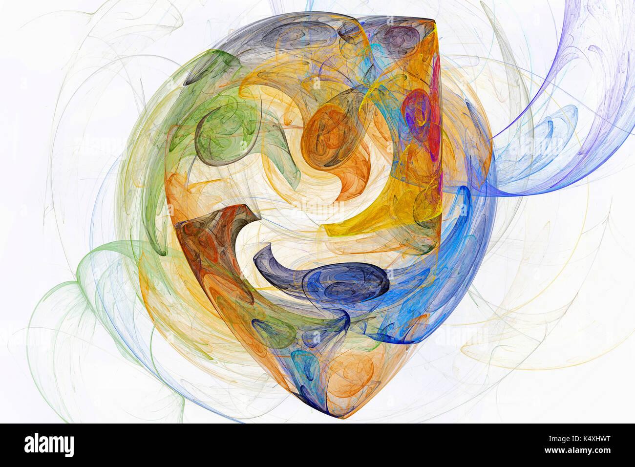 Digital art drawing - The mask - Stock Image