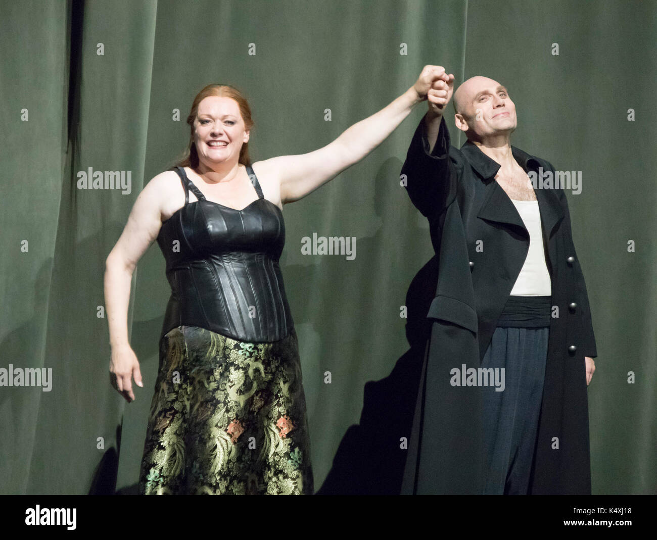 Catherine Foster as Brünnhilde and John Lundgren as Wotan taking a curtain call, Die Walkure, Bayreuth Opera Festival 2017, Bavaria, Germany - Stock Image
