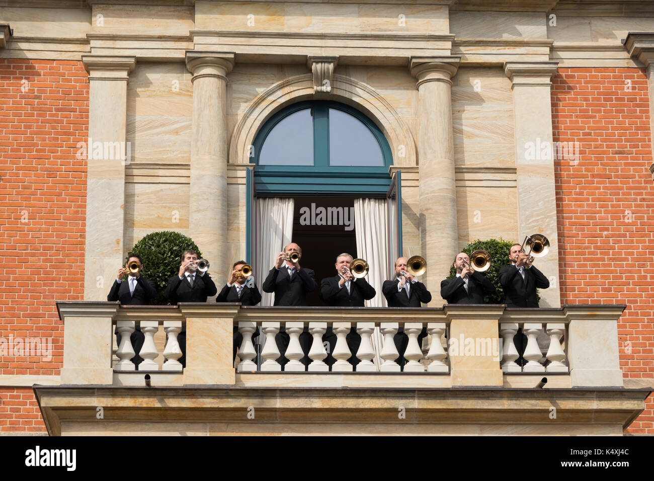 pre-performance fanfare, The Bayreuth Festspielhaus or Bayreuth Festival Theatre opera house, Franconia, Bavaria, Germany - Stock Image