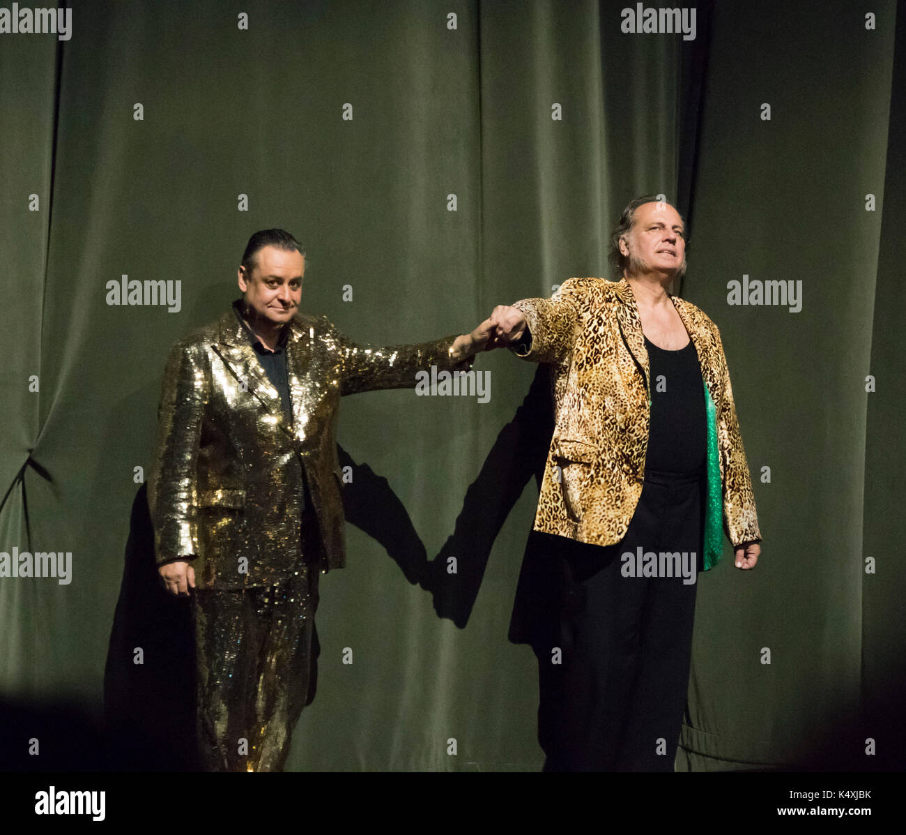 Andreas Conrad (left) as Mime and Albert Dohmen, Alberich, taking a curtain call at Wagner's Rheingold, Bayreuth Opera Festival 2017, Bavaria, Germany - Stock Image