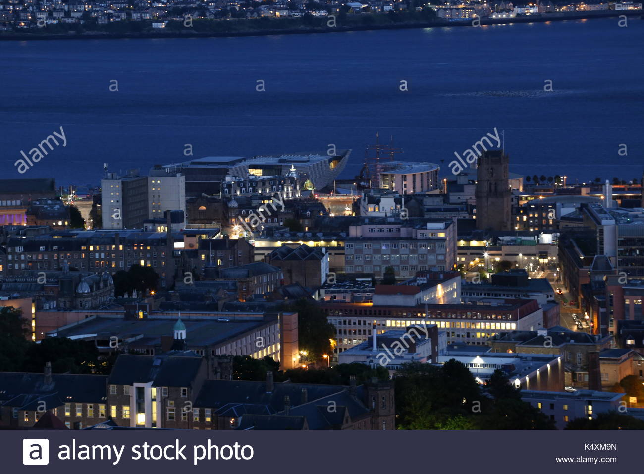 Elevated view of Discovery Point by night from Dundee Law Scotland  September 2017 Stock Photo