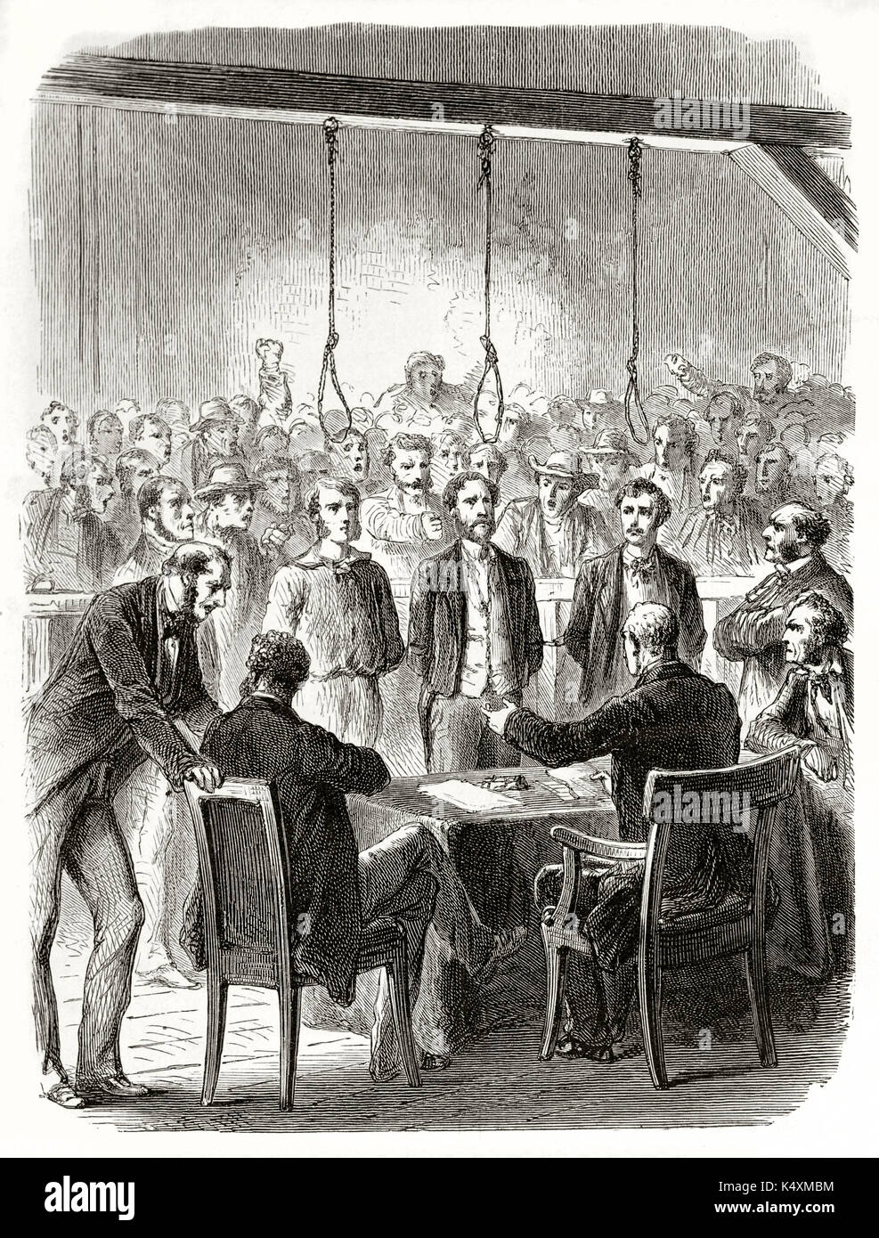 Ancient trial against three people in front of a screaming crowd and a gallows with hanging nooses. John Doe and son interrogations. By Janet-Lange and Carbonneau published on Le Tour du Monde 1862 - Stock Image