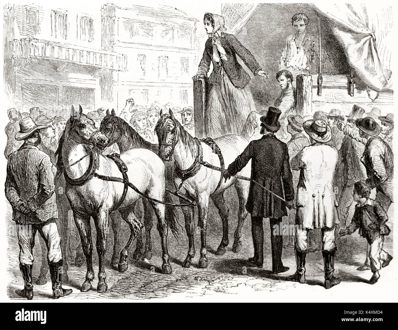 Old illustration depicting the wife of John Doy (activist for Missouri Slave Abduction) haranguing people in Platte-City. Created by Janet-Lange and Trichon published on Le Tour du Monde Paris 1862 - Stock Image