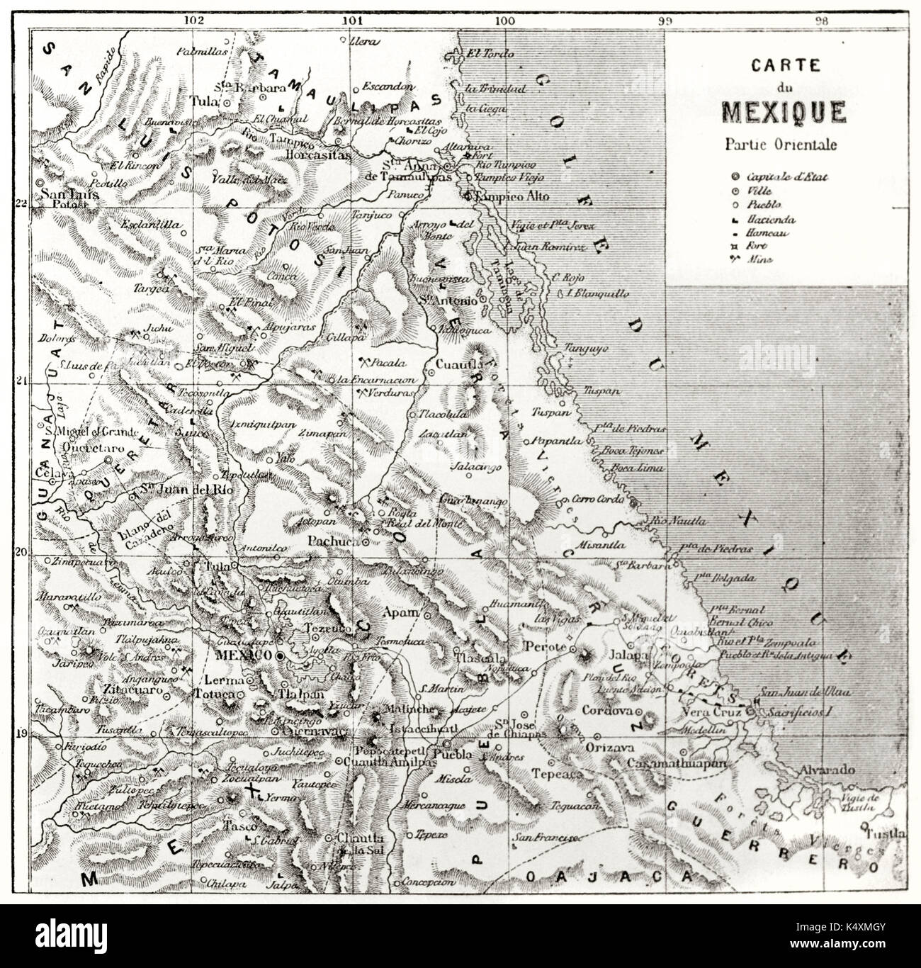 Ancient Topographic Map Of Eastern Mexico By Unidentified Author