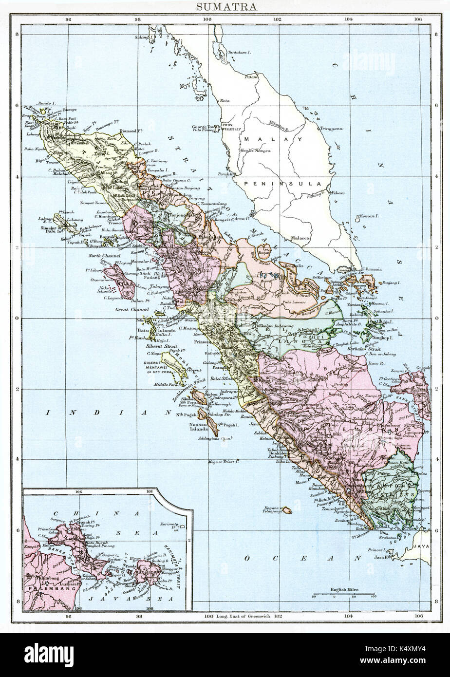 Antique map, circa 1875, of Sumatra - Stock Image