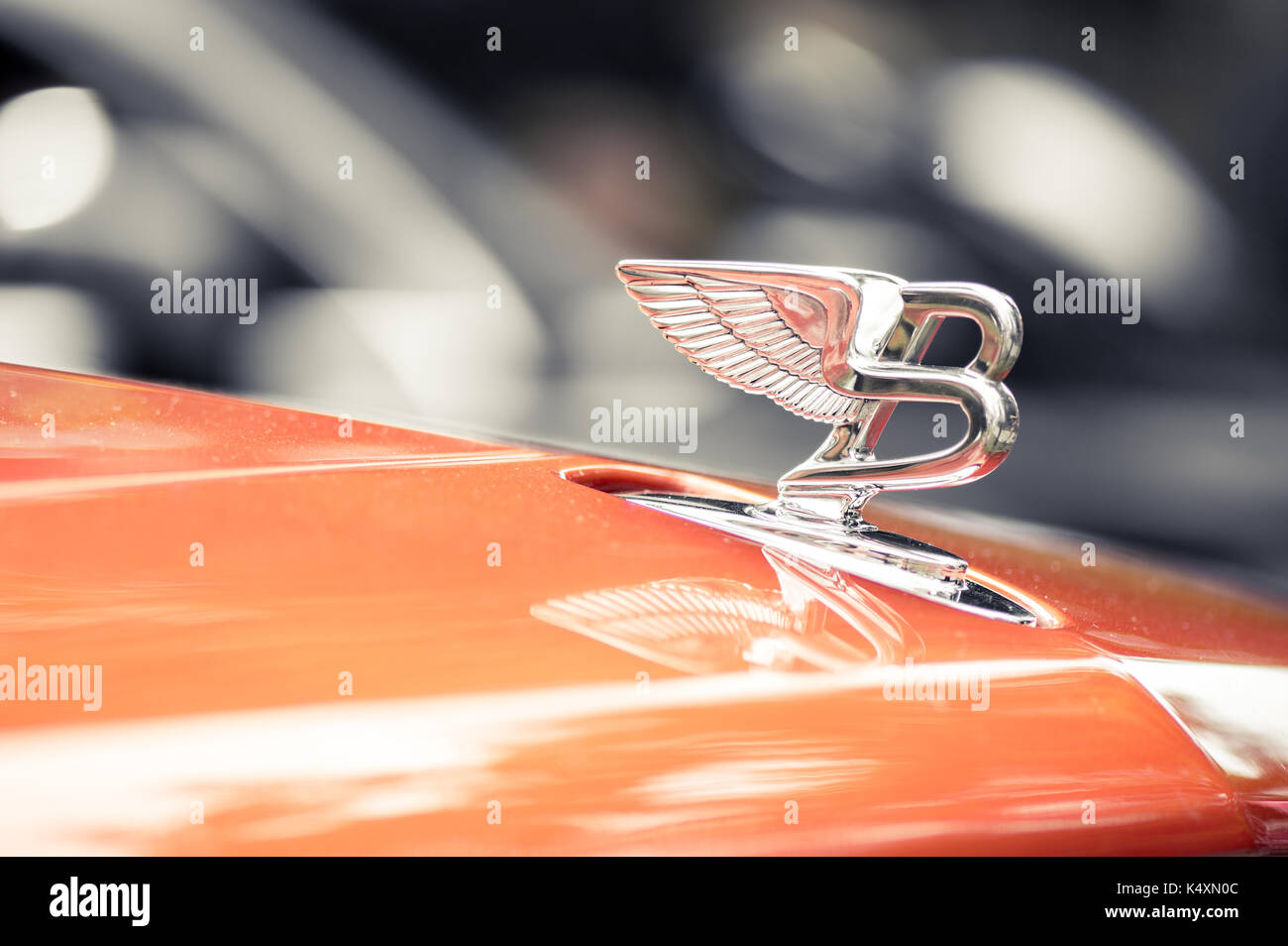 WROCLAW, POLAND -  AUGUST 19th, 2017: Hood ornament on a vintage Bentley car. Bentley Motors Limited is a British manufacturer and marketer of luxury  - Stock Image