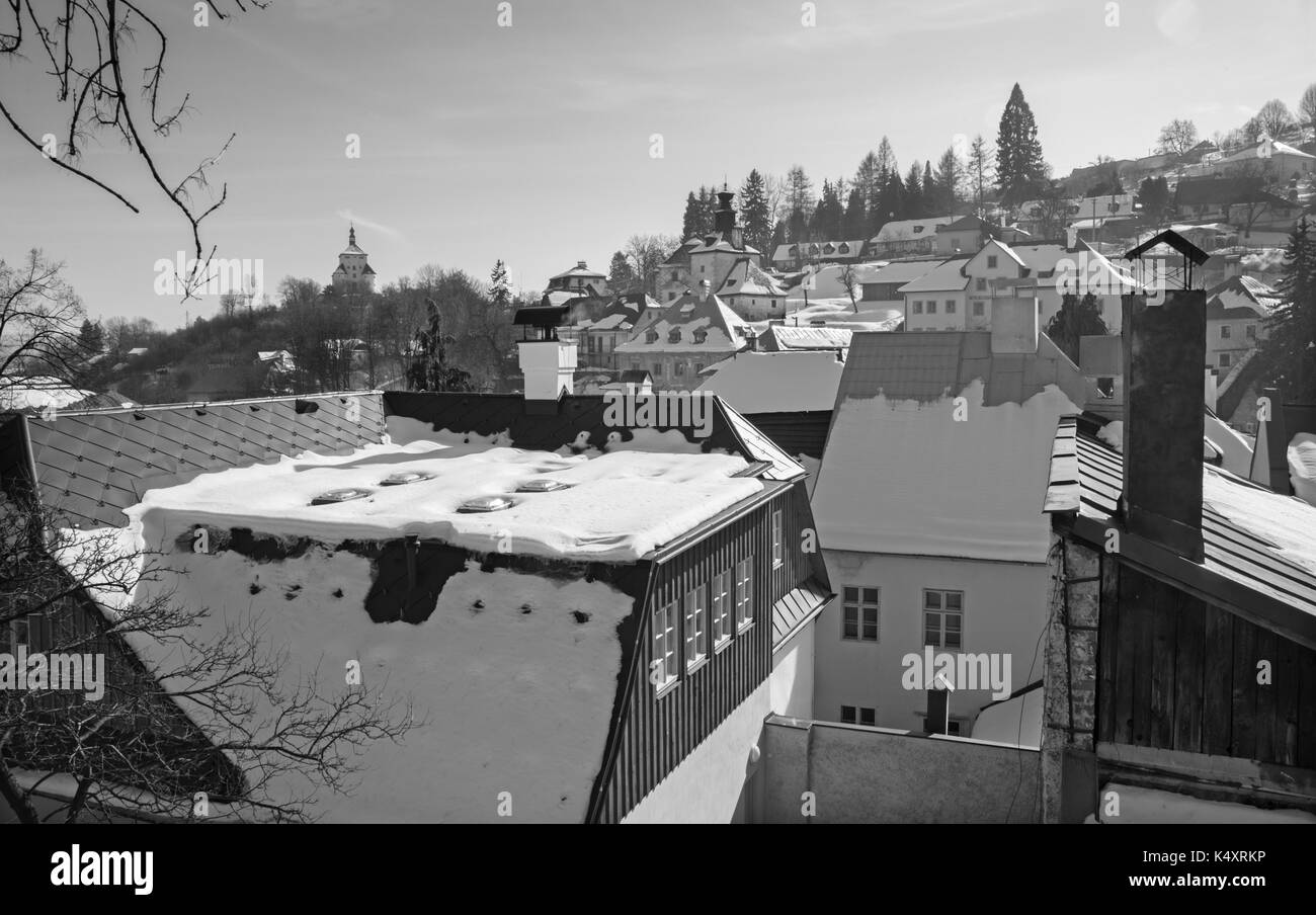 Banska Stiavnica - Slovakia - unesco monument - New castle and the roofs of the town in winter evening. - Stock Image