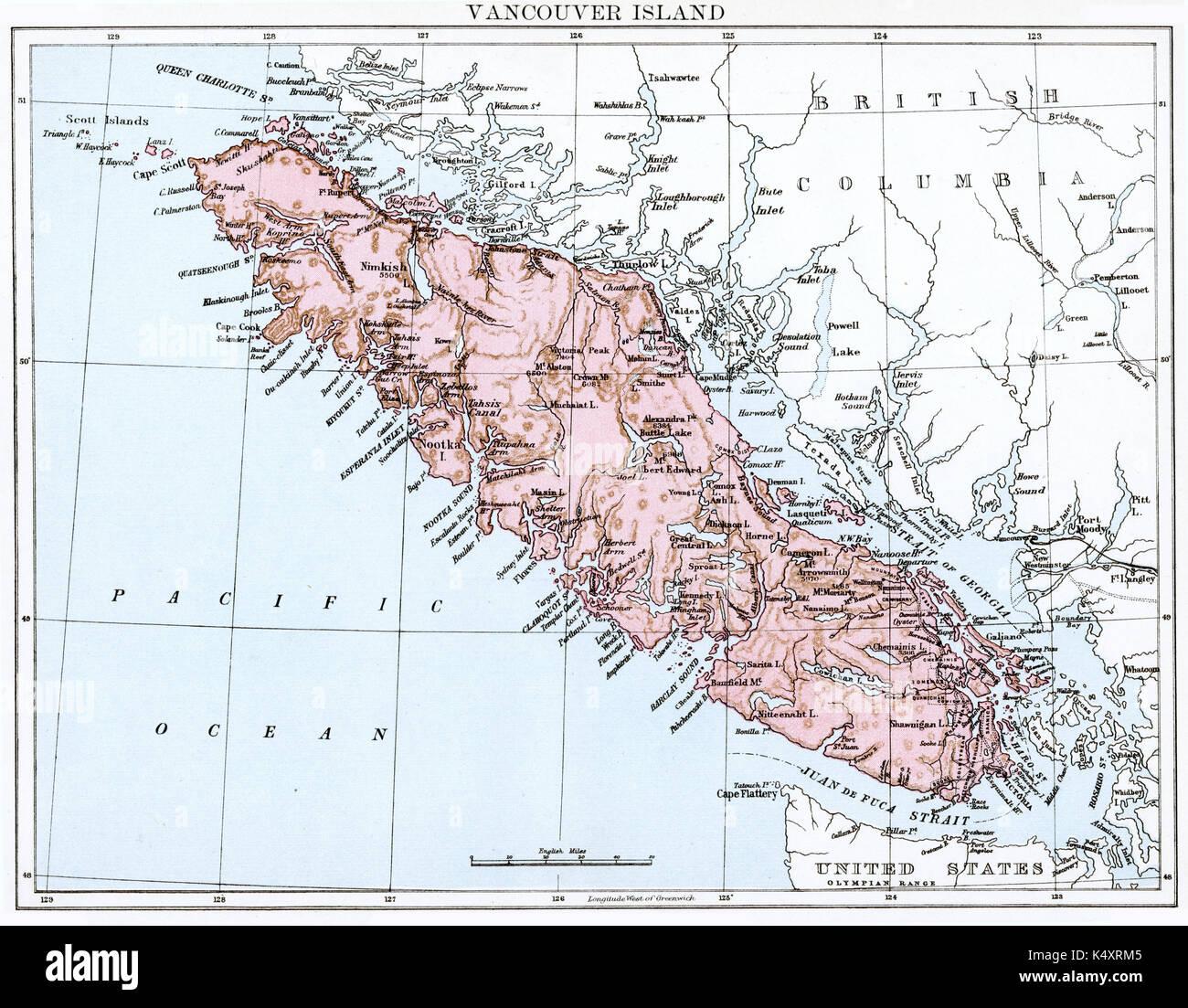 Islands Of Canada Map.Antique Map Circa 1875 Of Canada Vancouver Islands Stock Photo