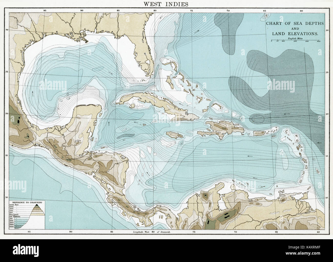 Antique map, circa 1875, of West Indies (Sea) Stock Photo