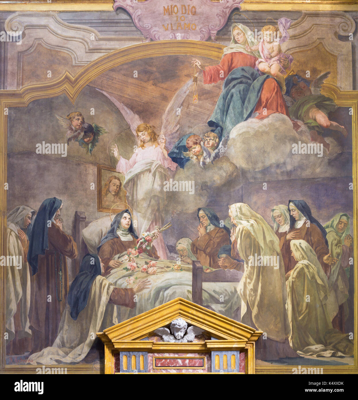TURIN, ITALY - MARCH 13, 2017: The fresco The death of St. Theresia in church Chiesa di Santa Teresa by Rodolfo Morgari  (1827 – 1909). - Stock Image