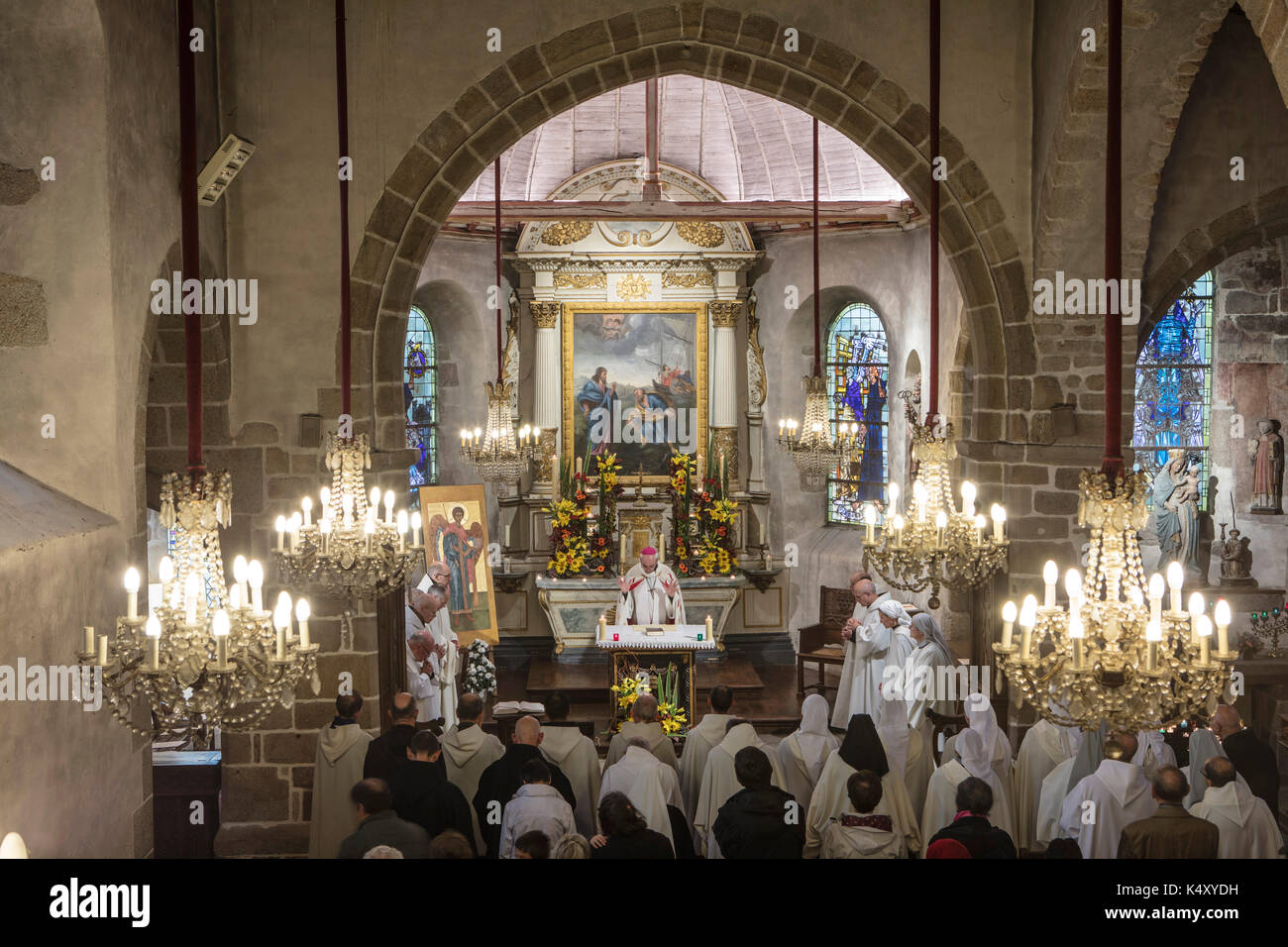 Mont Saint-Michel (Saint Michael's Mount), on 2016/10/16: revels for the 1050th anniversary of the monastic presence on Mont Saint-Michel. It was in 9 - Stock Image