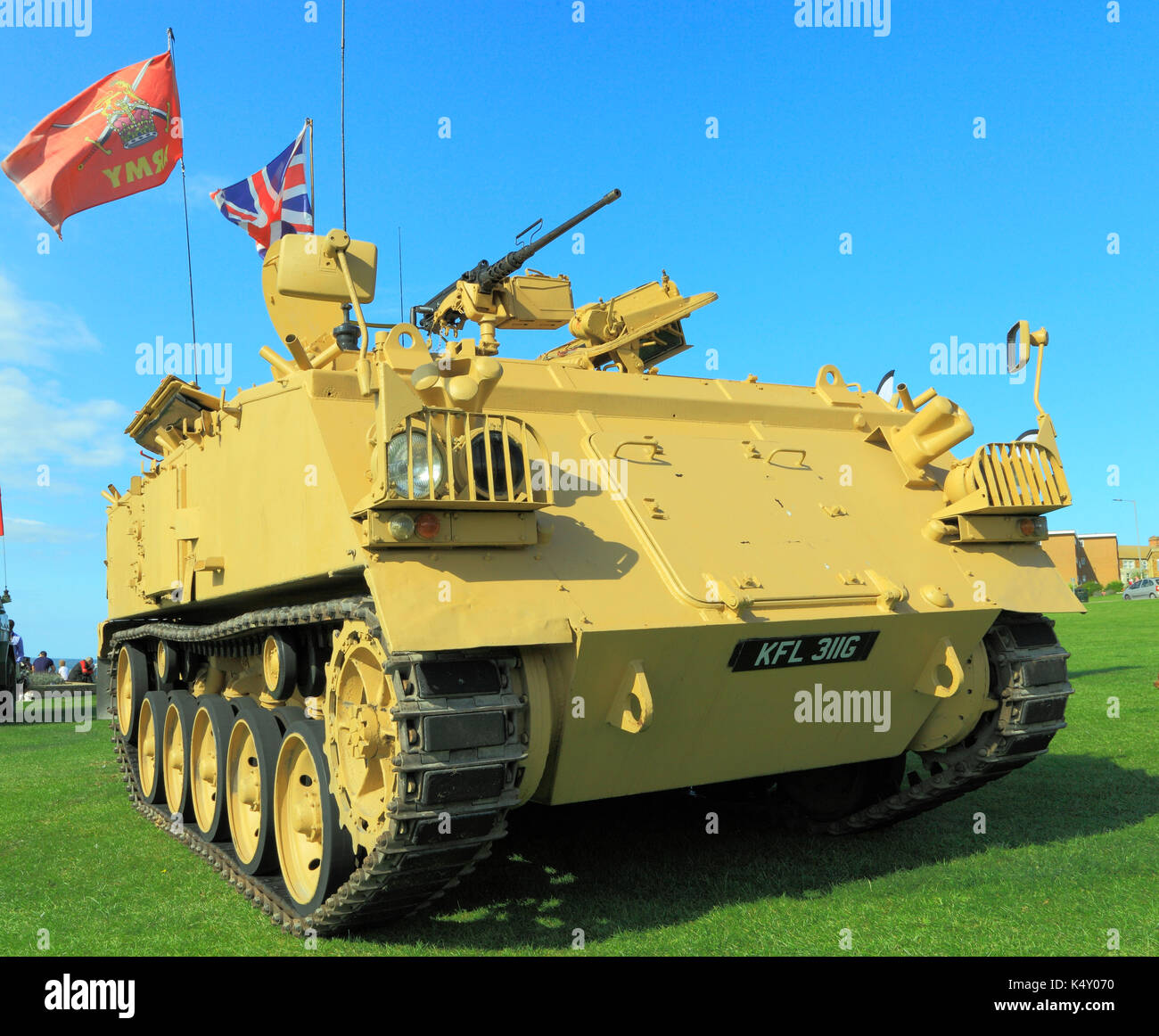 British Army 432 Tank, deployed in 1st Iraq War, military vehicle, vehicles, wars, army flag, union jack flag, flags, weapons, weaponry, England, UK - Stock Image