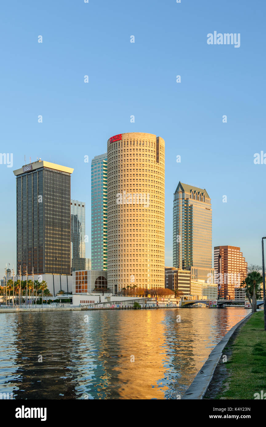 Tampa Florida, USA, downtown skyline with the Hillsborough River in the foreground as seen from the University of Tampa. - Stock Image