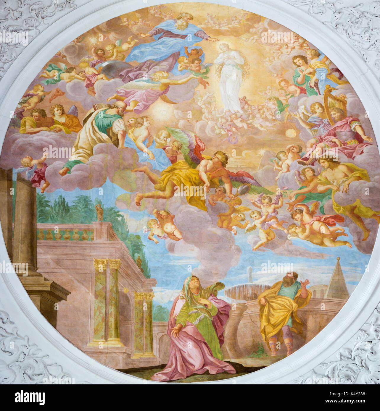 "VIENNA, AUSTRIA - JULY 30, 2014: The fresco of ""Die Erwählung Mariens"" - election of Virgin Mary in church Pfarkirche Maria Hietzing by Antoni Galliar - Stock Image"