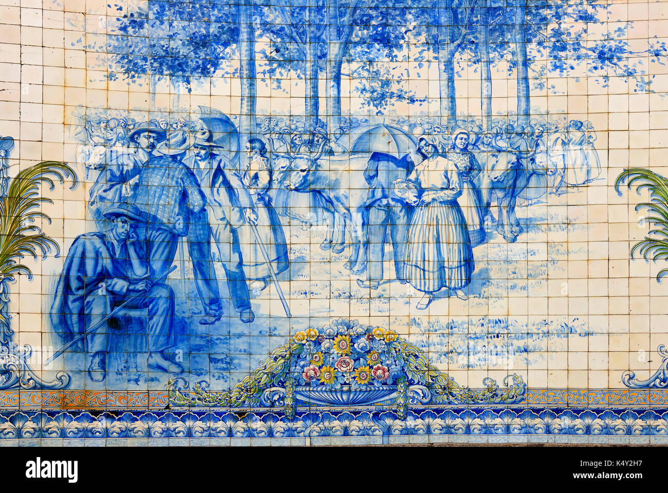 Traditional tiles (azulejos) in Viseu. Portugal - Stock Image