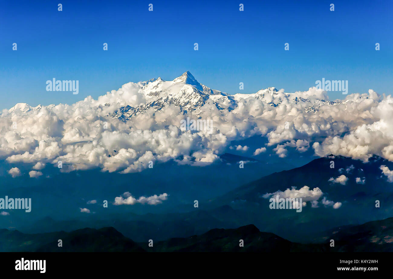 Machapuchare sacred to the god Shiva, view from Pokhara, Nepal. - Stock Image