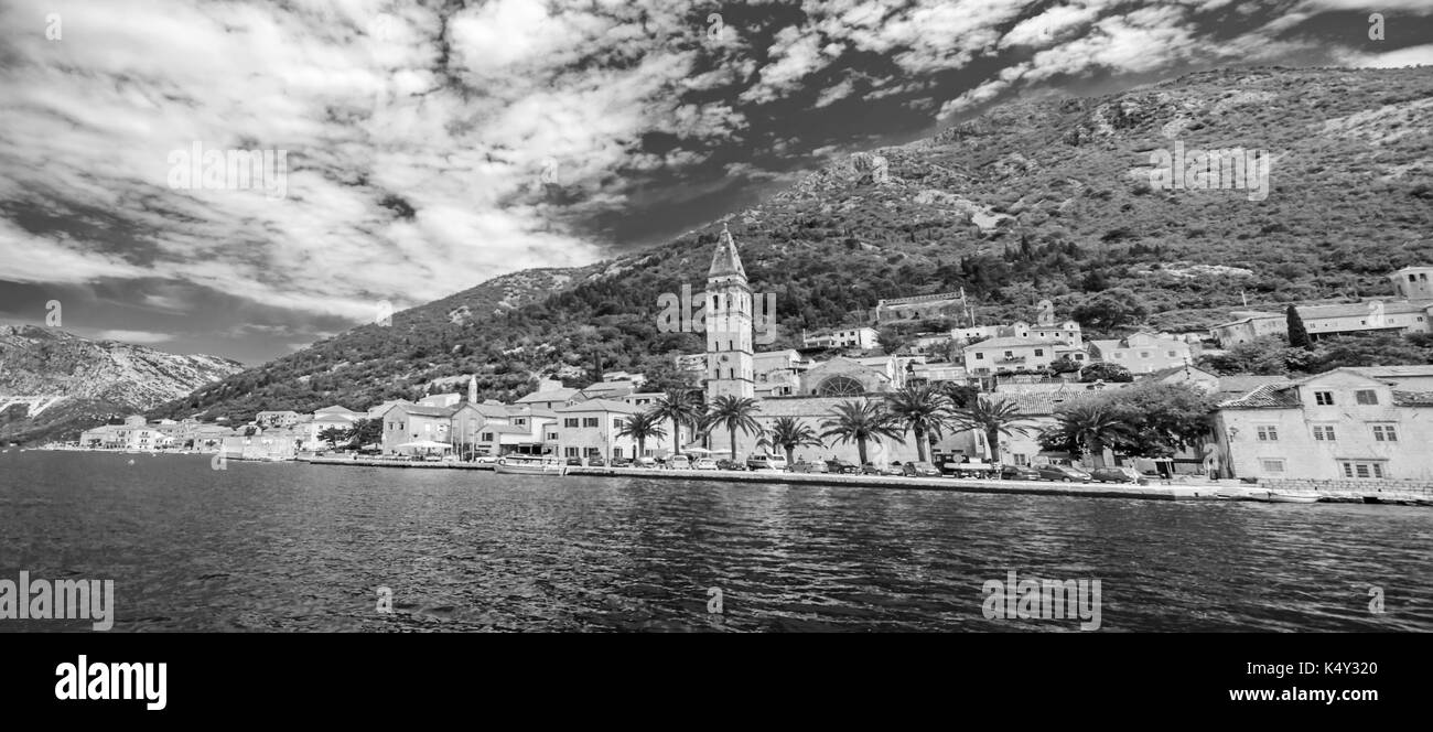 A little town in Montenegro - Perast, a view from yacht - Stock Image