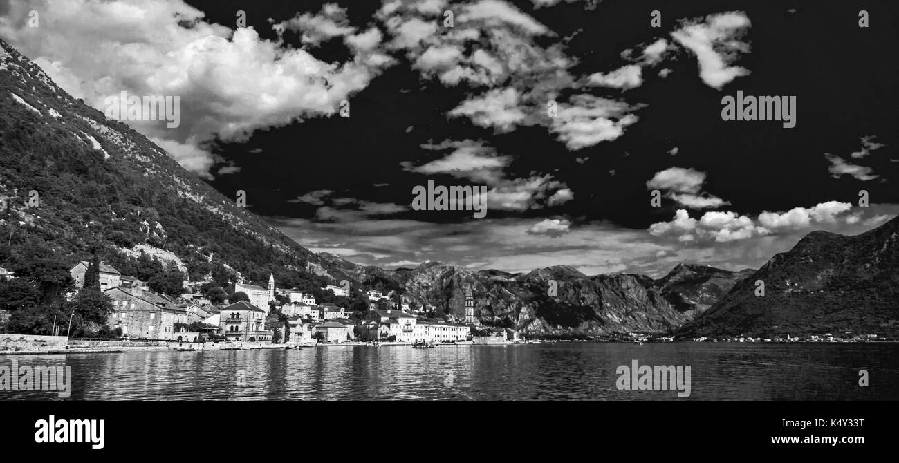 A little town in Montenegro - Perast - Stock Image
