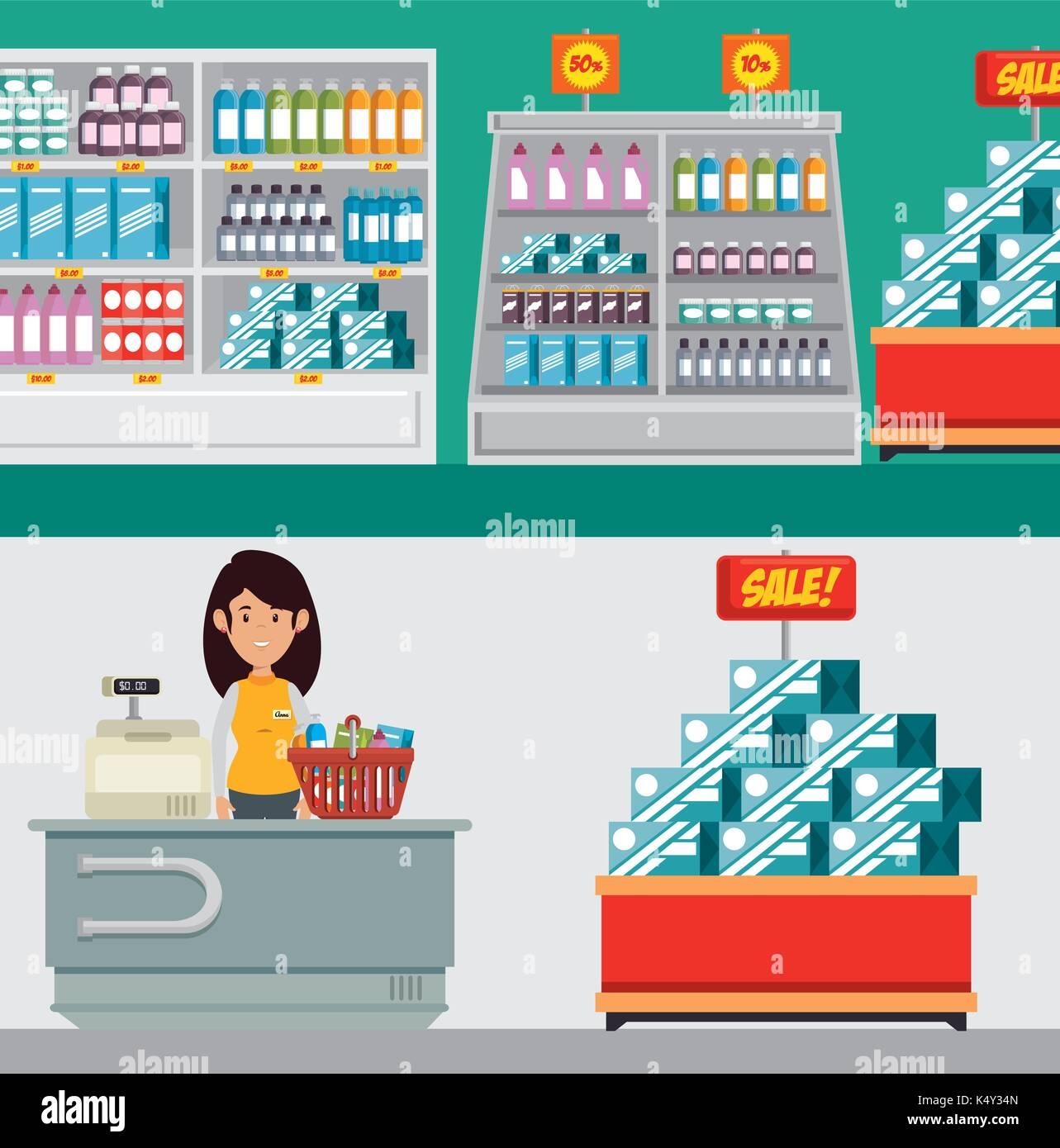 supermarket store consumerism concept  - Stock Image