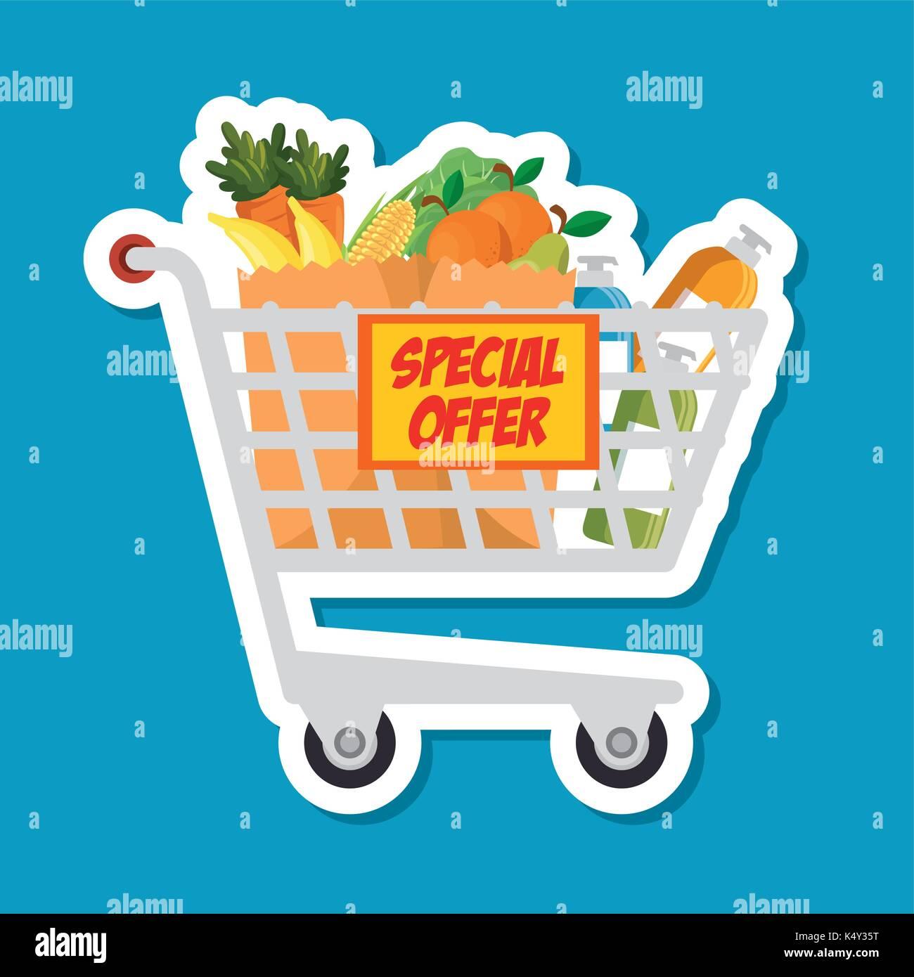 Supermarket Shopping Trolley Cartoon Stock Vector Image Art Alamy