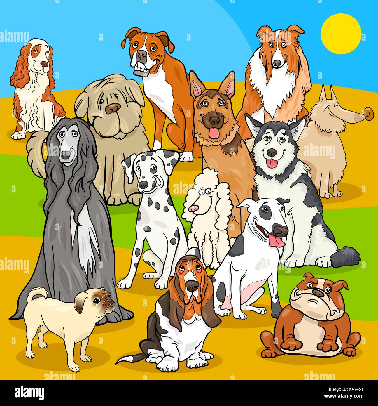 Cartoon Illustration of Pedigree Dogs Animal Characters Group - Stock Vector