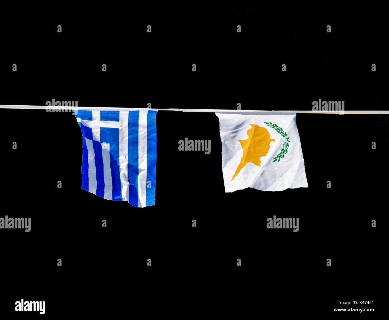 Greek an Cyprus flag isolated on black - Stock Image