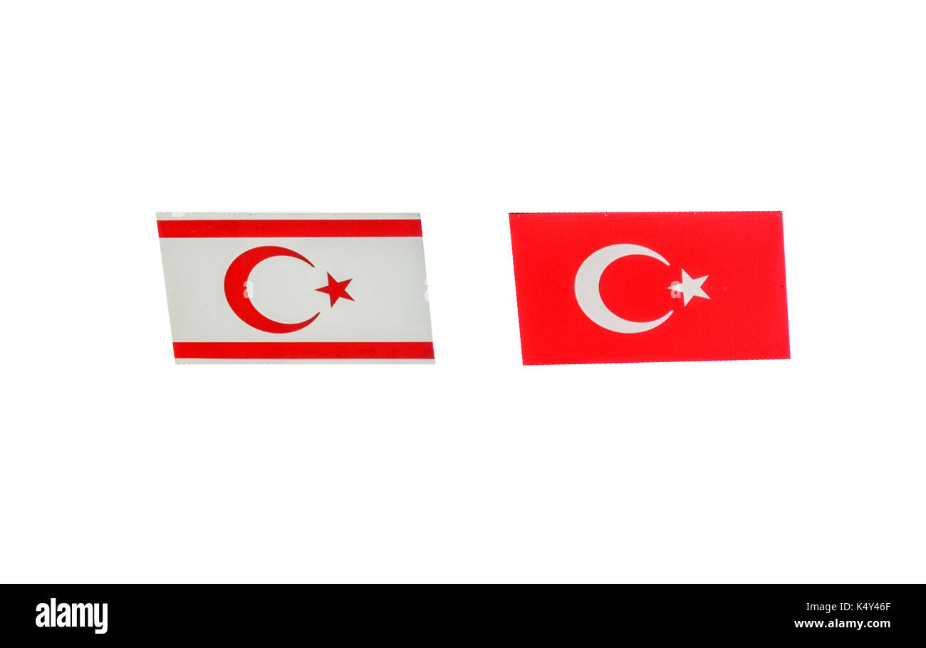 North Cyprus flag isolated on white - Stock Image
