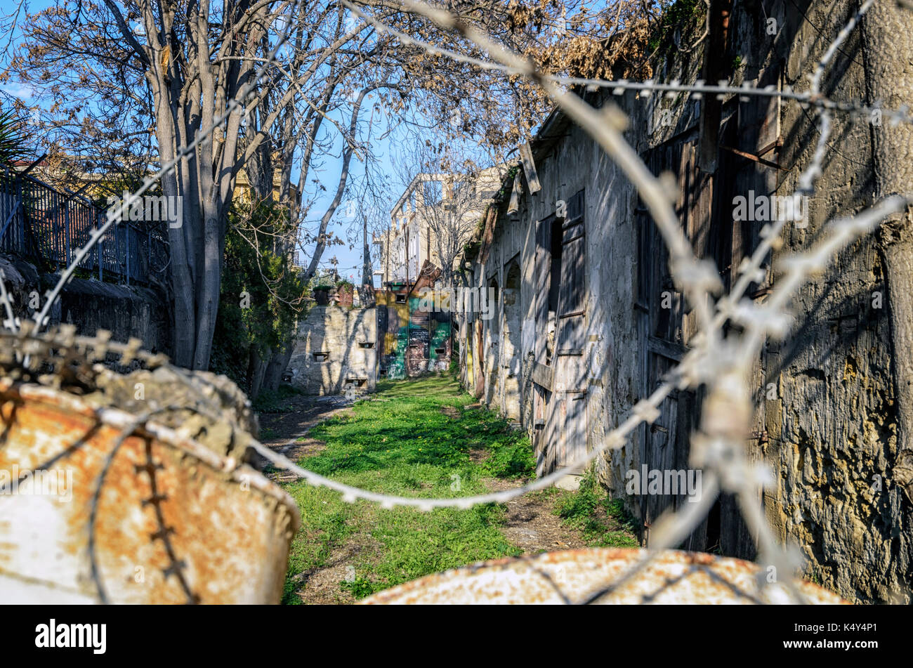 United Nations buffer zone (Green line) in Cyprus in Nicosia. - Stock Image