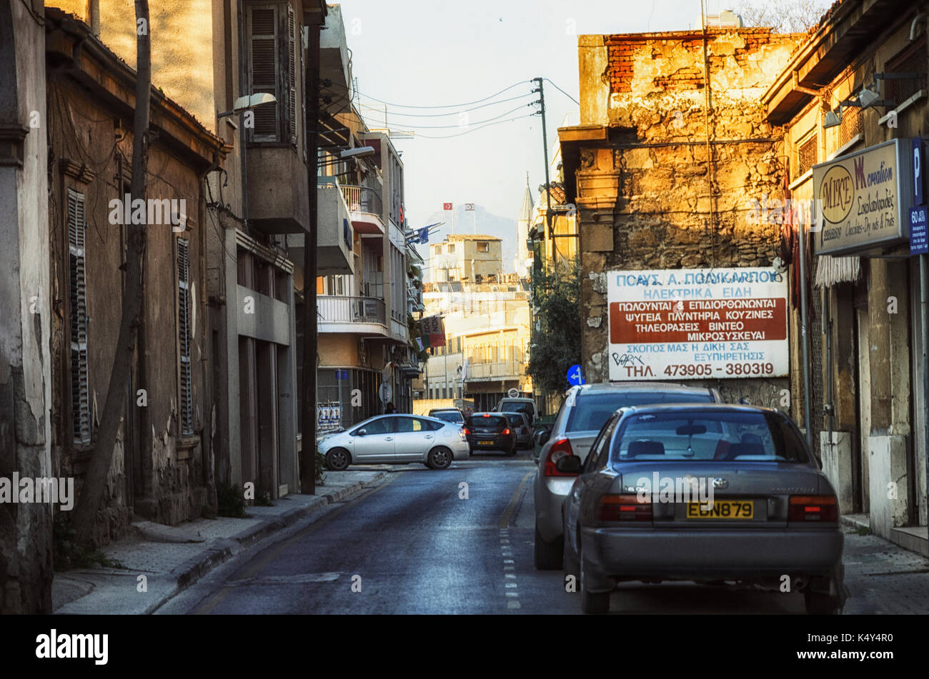 Nicosia, Cyprus on March 21, 2017: United Nations buffer zone (Green line) in Cyprus in Nicosia. - Stock Image