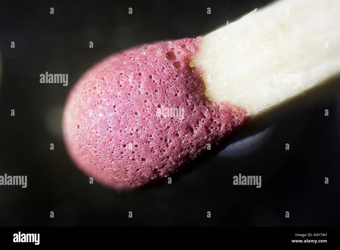 The Microscopic World. Match head under the microscope - Stock Image