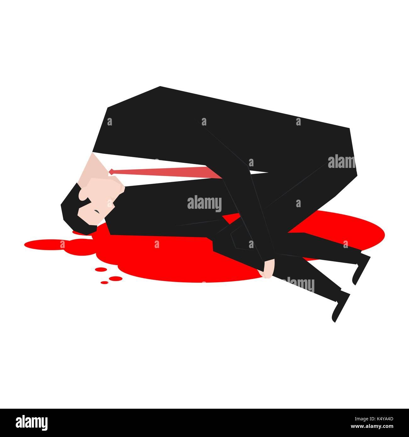 Murder of businessman. Dead Boss in pool of blood. Vector illustration - Stock Vector
