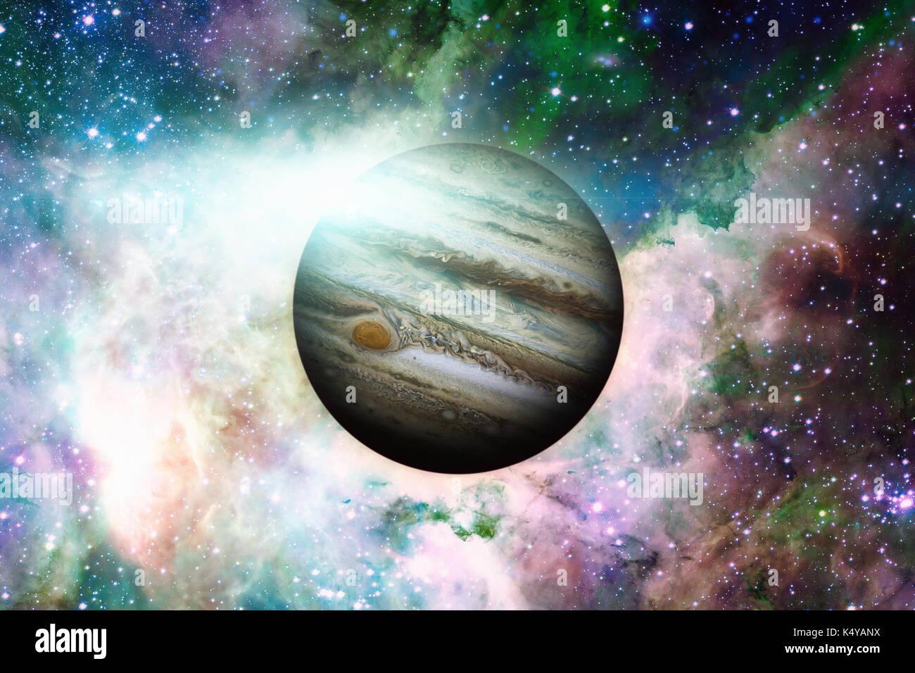 Planet Jupiter. Nebula on the background. - Stock Image