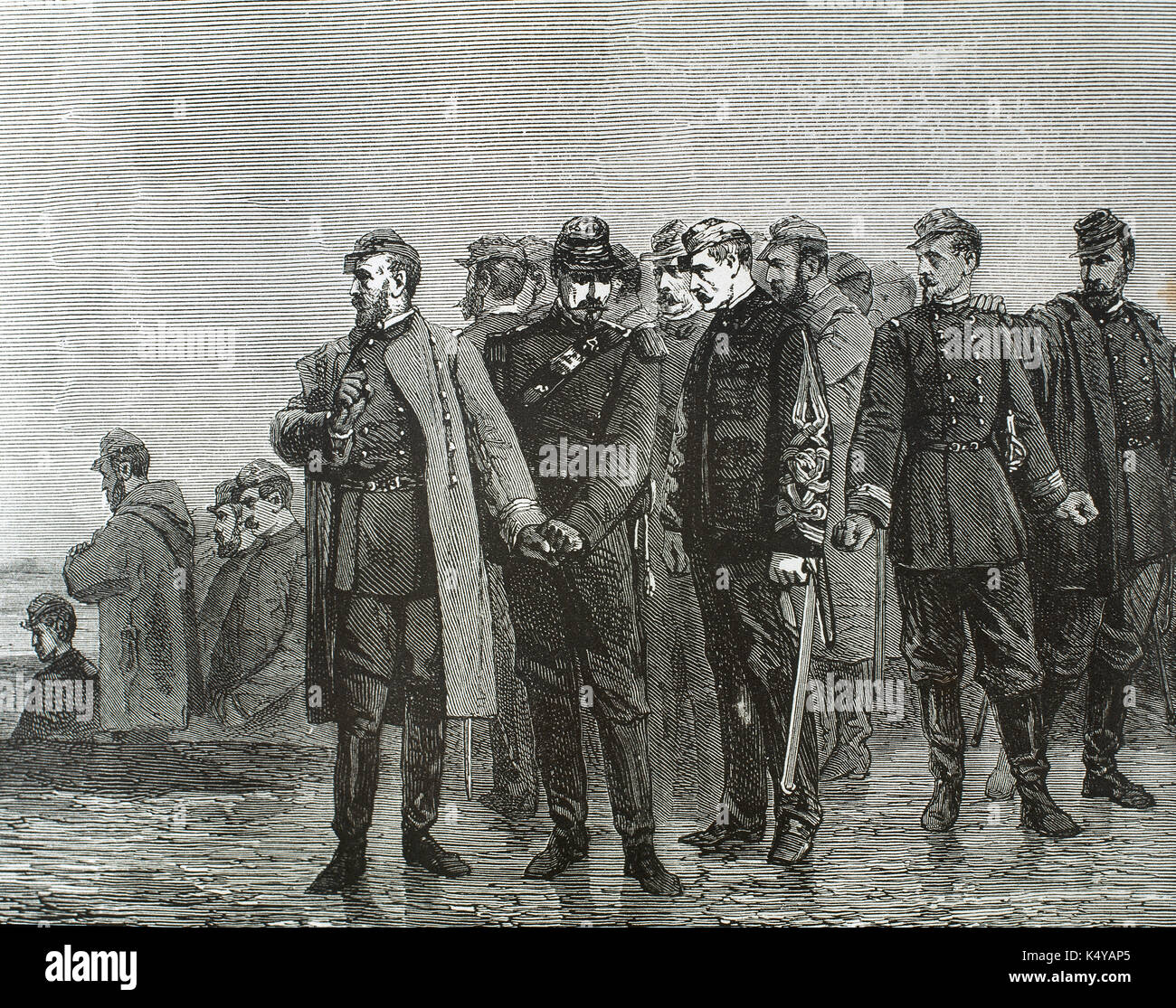 Franco-Prussian War (1870-1871). Between August and October 1870, the French suffered in Metz a siege which ended with the capitulation of General Bazaine and his troops. Engraving. 'Historia Universal', 1881. - Stock Image