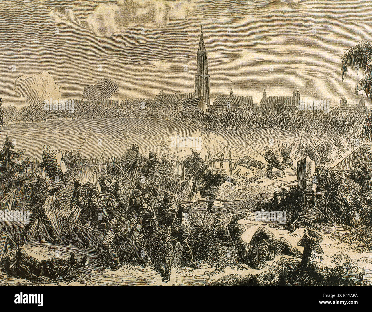 Franco-Prussian War (1870-1871). Combat of the garrison of Strasbourg with the Prussians camped in the cemetery of Saint Elena. Engraving. 'La Ilustracion Espanola y Americana', 1879. - Stock Image