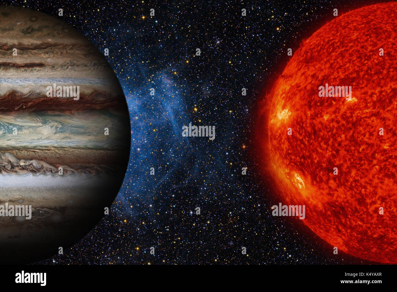 Solar System - Jupiter. It is the largest planet in the Solar System. - Stock Image