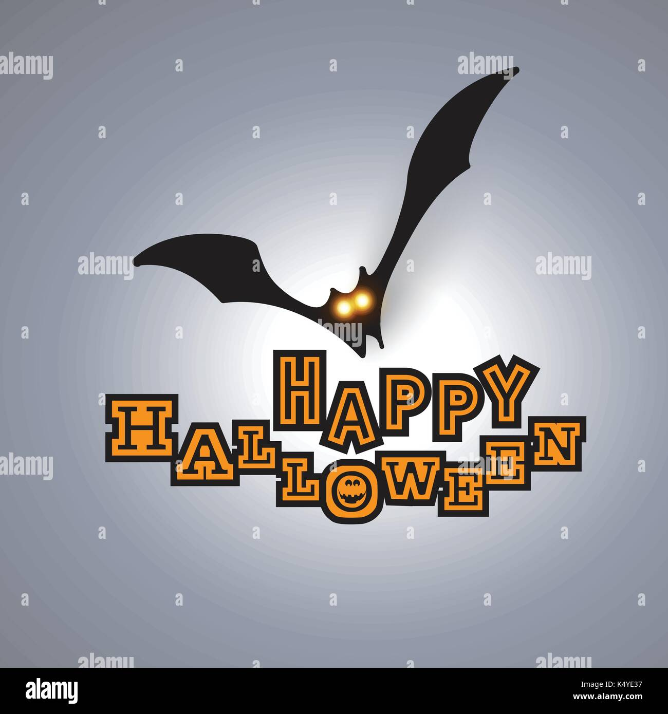happy halloween card template flying bat with glowing eyes