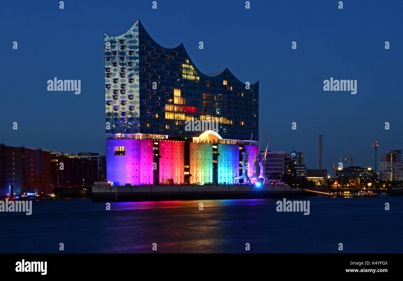 Elbphilharmonie, Elbe Philharmonic Hall illuminated in rainbow colors, Hamburg, Germany Stock Photo