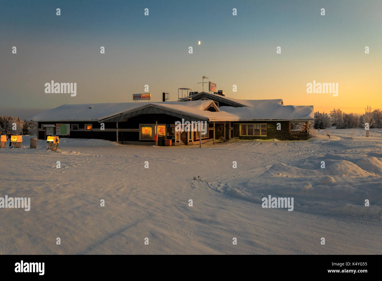 House in the village in winter - Stock Image