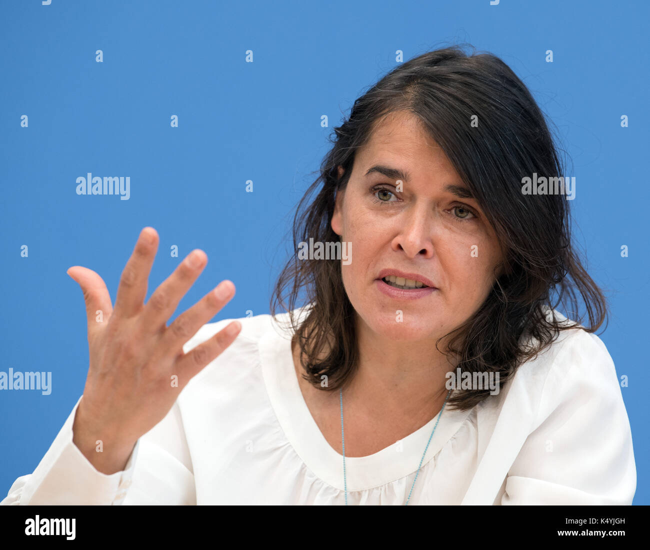 Berlin, Germany. 7th Sep, 2017. Claudia Langer, the founder of Generation Manifest, at a press conference at which the newly founded environmental pressure group Generation Manifest presented its programme in Berlin, Germany, 7 September 2017. Prominent figures from civil society, science, economy, and politics founded the initiative in order to remind politicians of the dangers of the reckless endangerment of future generations. Photo: Soeren Stache/dpa/Alamy Live News - Stock Image